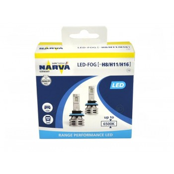 18036 NARVA Лампа светодиодная H8/H11/H16 12/24V 24W 6500K Range Performance LED 2 шт. картон