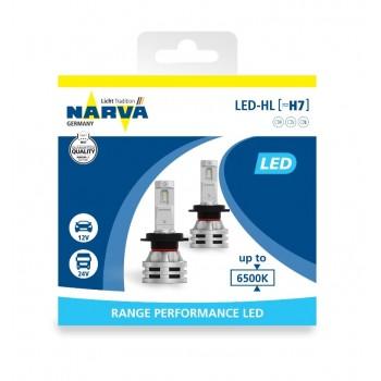 18033 NARVA Лампа светодиодная H7 12/24V 24W 6500K Range Performance LED 2 шт. картон