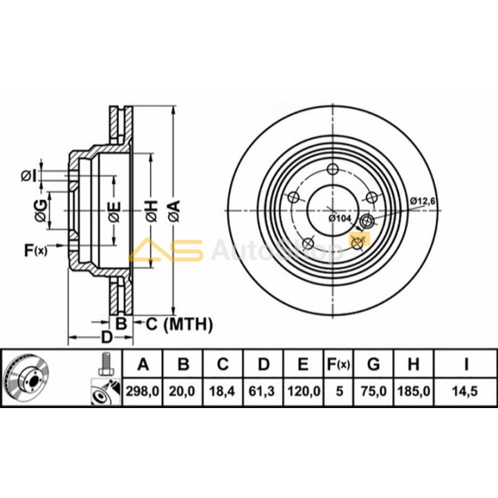 24012001541 ATE Диск тормозной BMW 5(E39) -04 задн. 298 мм.